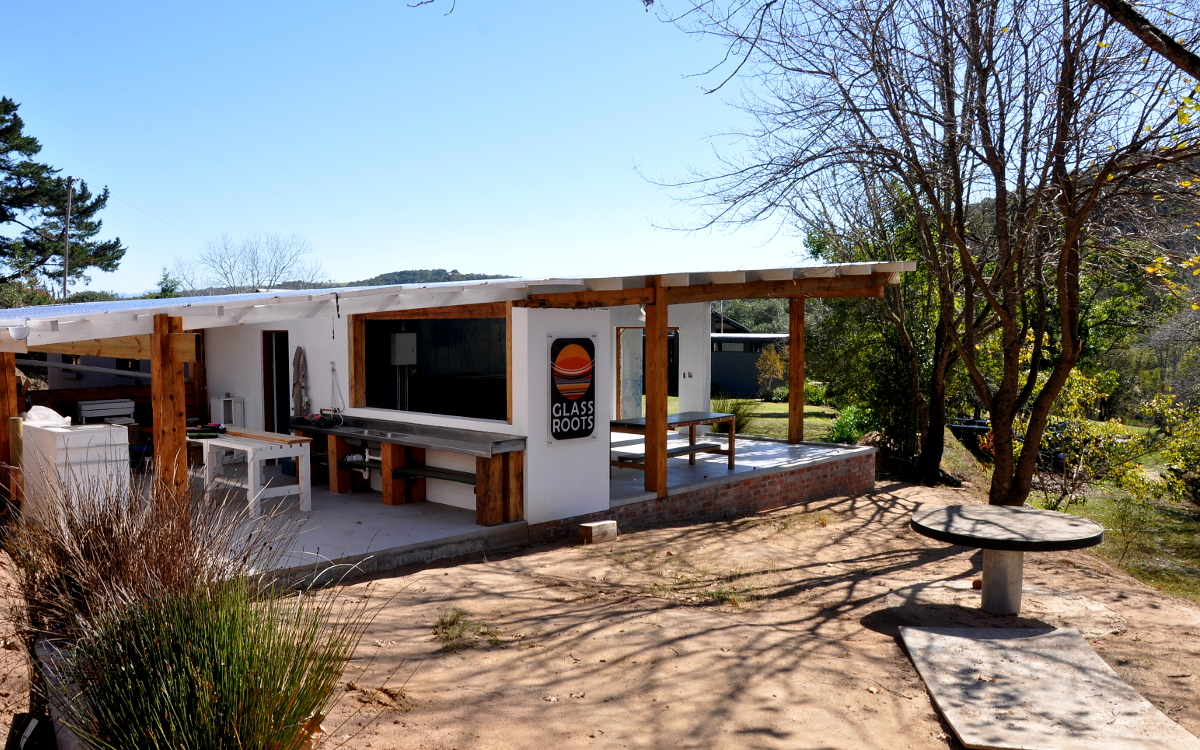 The glass studio overlooking the Southkloof is in its final stages of construciton.